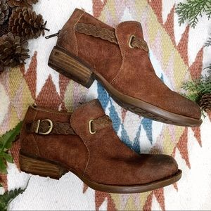 Born Sylvia Western Suede Booties in Tobacco Brown